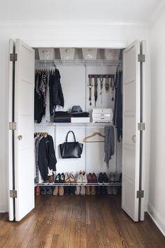 Maximizing Closet Space: 6 Tips – Room For Tuesday – Home Diy Organizations Maximize Closet Space, Small Closet Space, Small Spaces, Ideas Armario, Small Room Design, Closet Bedroom, Diy Door, Closet Doors, Shoe Closet
