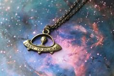 X-Files UFO Charm Necklace  I Want to Believe by Chicgeekshoppe