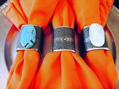 Choice of Grey Shagreen Wrapped Napkin Rings by JesseDimondDesign