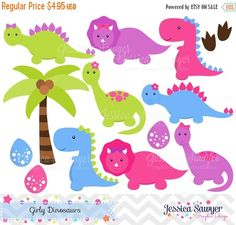80% OFF - INSTANT DOWNLOAD, Girls Dinosaur Clipart, Dinosaurs for girls, Dino party, for commercial use or personal use
