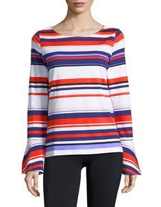 Brands | T-Shirts & Knits  | Striped Bell-Sleeve Cotton Top | Hudson's Bay