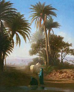 Charles Théodore FRERE (1814 - 1888) L'Oasis. Huile sur panneau signé en bas à gauche. 40 x 32 cm - SGL Enchères - 23/11/2014
