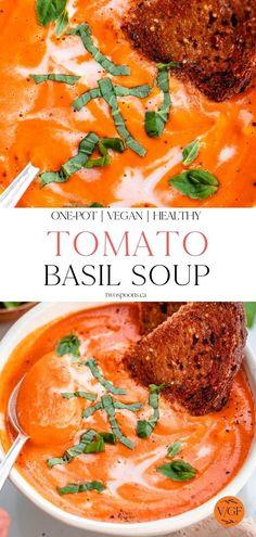 Tomato Bisque Soup, Fresh Tomato Soup, Vegan Tomato Soup, Creamy Tomato Basil Soup, Tomato Soup Recipes, Healthy Soup Recipes, Basil Soup Recipe, Vegan Recipes, Vegan Side Dishes