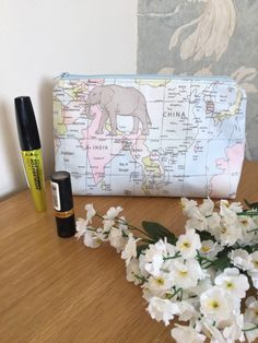 Excited to share this item from my shop: Cosmetic bag , toiletry bag makeup bag Advent Calenders, Make Up Organiser, Map Design, Toiletry Bag, Makeup Yourself, Cosmetic Bag, Etsy Shop, Trending Outfits, Cosmetics