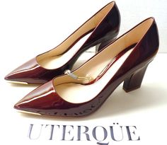 NWT UTERQUE by Zara - BURGUNDY PATENT LEATHER COURT SHOES  SIZE 39 EU