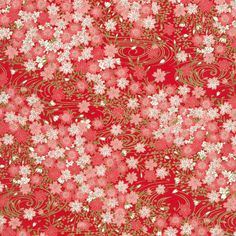 Chiyogami - Cherry Blossom Bouquet on Red (1/2 sheet)