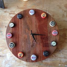 Shiner Beers Rustic Bottle Cap Wall Clock by MatheyWoodShop