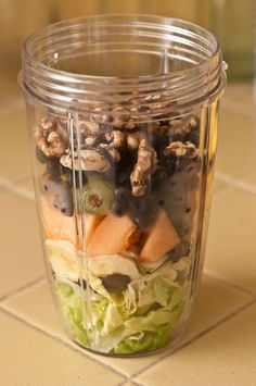 Butterhead Lettuce, Banana, Cantaloupe, Grapes, Frozen Blueberries, Walnuts, Add Coconut Water & Blend.