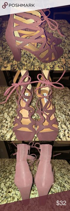 Maroon Steve Madden lace up cut out heels sz 9 Super chic Steve Madden maroon cut out lace up heels. Size 9. Worn once with no visible signs of wear. Steve Madden Shoes Heels