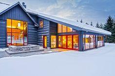 Log Cabin Goes Modern. Custom Home Designs, Custom Homes, Ski Chalet, Design Projects, Sweet Home, House Design, Cabin, The Originals, Modern Architecture