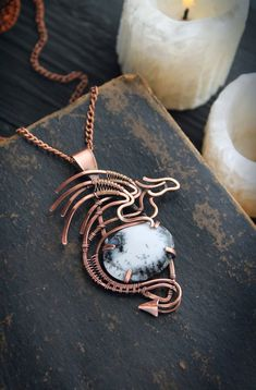 Dragon necklace copper jewelry Wire wrapped pendant Celtic necklace Gift for man Gift for woman Celtic Necklace, Dragon Necklace, Dragon Jewelry, Bijoux Wire Wrap, Wire Wrapped Necklace, Wire Wrapped Pendant, Copper Jewelry, Fine Jewelry, Jewelry Making