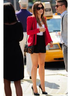 Just because summer's over doesn't mean you have to put your cute shorts in storage. Pair them with a tank, jacket and pumps, like Sophia Bush. On colder days, add tights and swap out the heels for boots