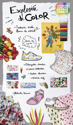 Panel de Tendencias Gioseppo Kids PV16 - Explosión de color.   Trends board SS16 - Color Explosion   #SS16 #SpringSummer #KidsFashion #Shoes #Inspiration