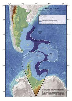 Cancillería presentó el nuevo límite exterior de la Plataforma Continental Argentina, con un 35% más de superficie  El nuevo mapa de Argentina.Foto:Cancillería
