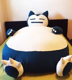 Giant Snorlax bean bag cover in Navy color by OOwlStudio on Etsy