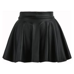 Black Elastic Waist Flare PU Leather Skirt ($15) ❤ liked on Polyvore featuring skirts, black, pleather skirt, flared skirt, pattern skirt, leatherette skirt and flare skirt