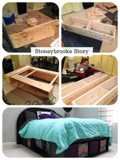 This is a copycat of a $999 Pottery Barn bed made using $100 worth of lumber.