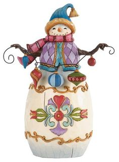 Jim Shore for Enesco Heartwood Creek Snowman with String of Ornaments Figurine