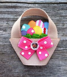 Easter Basket with Eggs Ribbon Sculpture Hair Clip - Toddler Hair Bows - Girls Hair Accessories... Free Shipping Promo. $4.50, via Etsy.
