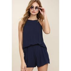 Olive & Oak Canyon Companion Navy Blue Romper ($72) ❤ liked on Polyvore featuring jumpsuits, rompers, blue, navy blue romper, blue rompers, ruffle romper, sleeveless rompers and blue romper