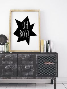 Nursery Illustration, Boys Room Decor, Oh Boy, Nursery Quote, Large Printable Nursery, Wall Art Kids Playroom Baby Boy, Black White Nursery
