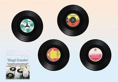Vinyl #record #coasters set pack of 4 music coffee drink cup gift #barware,  View more on the LINK: http://www.zeppy.io/product/gb/2/371651509428/