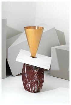 roartheharbour:  Ettore Sottsass Vaso E così facevo cose Marmo, bronzo dorato.