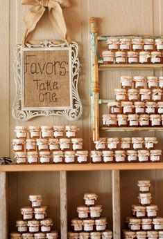 favors for guests - jars of yummy treats jam/ butter/ baking mix