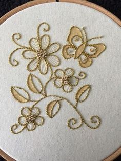 Flower Embroidery Introduction to Goldwork: Couched Butterfly and Flower Cascade Bead Embroidery Tutorial, Floral Embroidery Patterns, Tambour Embroidery, Hand Embroidery Flowers, Gold Embroidery, Hand Embroidery Stitches, Hand Embroidery Designs, Embroidery Techniques, Embroidery Kits
