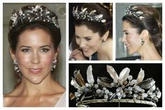 MIDNIGHT TIARA: 31 flower buds with over 1,300 small diamond brilliants and polished moonstones set in a structure of leaves and branches engraved in rose and white gold with black oxidized silver. The colors and light and shading effects replicate a starry moonlit sky at midnight. Designed by Charlotte Lynggaard of the Ole Lynggaard firm, a jeweler to the Danish royal court, it was handmade by goldsmiths in the company's studio. Worn only by Crown Princess Mary of Denmark.