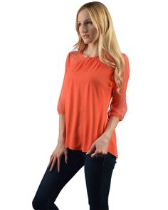 Plain Pattern Top with 3/4th Sleeves-id.29120a