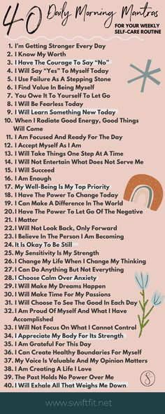 40 Daily Morning Mantras For Self Care | Swift Wellness