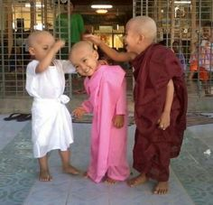 3 little monks sharing a laugh over 1 child's haircut boys, children, laughter, happy Cool Baby, Baby Kind, Beautiful Smile, Beautiful World, Beautiful People, Kids Around The World, People Of The World, Precious Children, Beautiful Children
