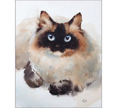 Siamese Cat    Original unframed watercolor painting on a high quality 300 g/m - 140lb Acid Free Arches watercolor paper.  Hand painted and signed