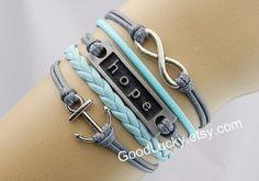 Hope braceletsCouple bracelets by charmjewelrybracelet on Etsy, $10.29