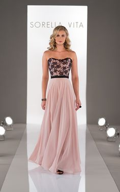 SophisticatedSorella Vita floor length bridesmaid dresses feature an all-lace bodice and ribbon sash to addunique flair.
