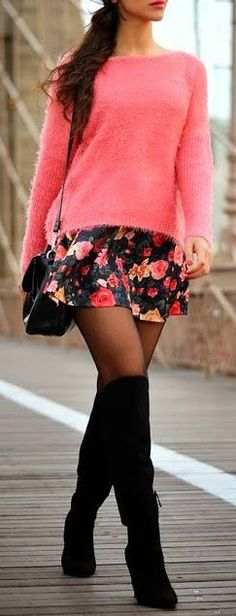 Pink fuzzy sweater floral skirt and black knee high boots