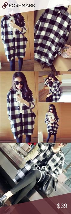 Longline oversized plaid shirt Material: medium thick cotton. Button down. NWOT Tops Button Down Shirts