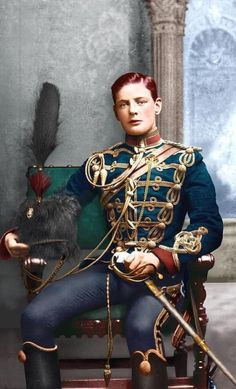 """historicaltimes: """"Young Winston Churchill in British Army Fourth Hussars uniform, 1895 . """" His sword should have a steel hilt and steel scabbard. No gold, gilt, or brass fittings should be on he. Army Uniform, Men In Uniform, Military Uniforms, Military Costumes, Uk History, British History, Nasa History, Winston Churchill, Military Art"""
