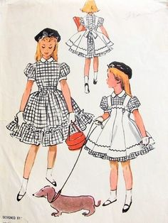 McCall's 3815 vintage sewing pattern for Girls Pinafore Dress, design by Helen Lee © Vintage Outfits, Vintage Girls Dresses, Vintage Dress Patterns, Little Girl Dresses, Hat Patterns, Moda Vintage, 1950s Fashion, Kids Fashion, Vintage Fashion