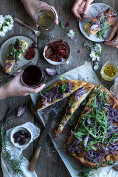 Vegan focaccia with caramelised red onions - The Little Plantation Blog - Salvia+Limone - Twigg Studios