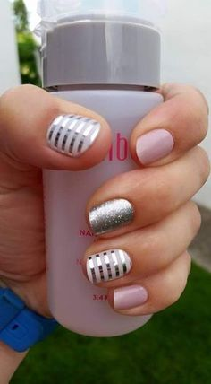 Daydream, Diamond Dust Sparkle, and Metallic Silver Stripe over Whiteout Cute Pink Nails, Pretty Nails, Pastel Nails, Nails 2017, Striped Nails, Metallic Nails, Jamberry Nail Wraps, Color Street Nails, Fabulous Nails
