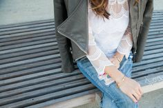 Lace (feminine) vs Moto Jacket (tough) :: http://www.thekimchronicles.com/all-about-that-lace/