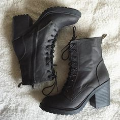 Black suede combat boots with chunky heels | Shoes heels boots and ...