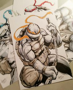 Ninga Turtles, Ninja Turtles Art, Teenage Mutant Ninja Turtles, Comic Books Art, Comic Art, Ninja Turtle Tattoos, Tmnt Mikey, Dibujos Anime Chibi, Comic Tattoo