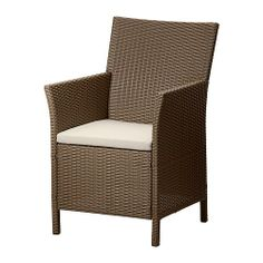 ARHOLMA Armchair with pad IKEA Hand woven plastic rattan, with the same expressions as natural rattan but durable for outdoor use.