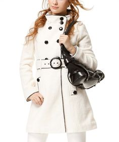 Take a look at this Runway White Patent Trim Wool-Blend Coat on zulily today!