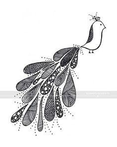 stylised peacock