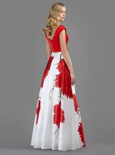 Φούστα μακριά βραδινή με φλοράλ λεπτομέρειες και τοπ  - Βραδυνά Φορέματα