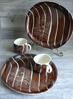 Four Pcs Purinton (1959) Vtg  Slipware Plates Cups Hand Painted Intaglio Pottery